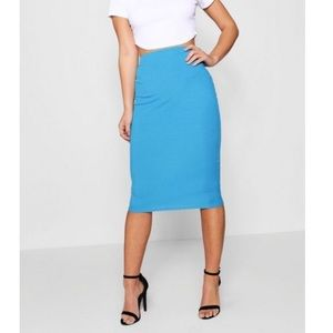 Blue Midi Bodycon Skirt